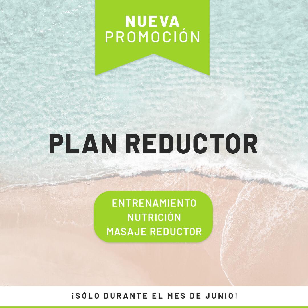 promoción plan reductor para el verano que contiene entrenamiento nutrición y masaje reductor